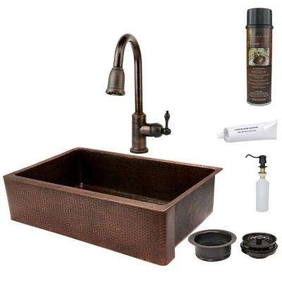 All-in-One Undermount Hammered Copper 35 in. 0-Hole Single Bowl Kitchen Sink in Oil Rubbed Bronze