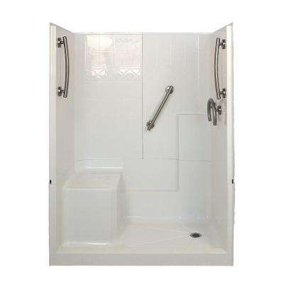 Freedom 32 in. x 60 in. x 77 in. 3-Piece Low Threshold Shower Stall in White and Brushed Nickel with Right Drain