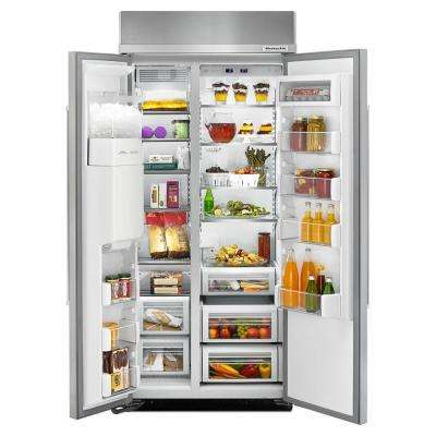 36 in. W 20.8 cu. ft. Built-In Side by Side Refrigerator in Stainless Steel
