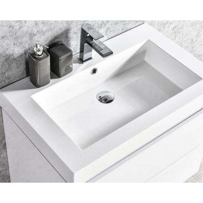 Maui 24 in. W x 18.5 in D LED Illuminated Bathroom Vanity in White with Acrylic Top in White with Integral White Basin