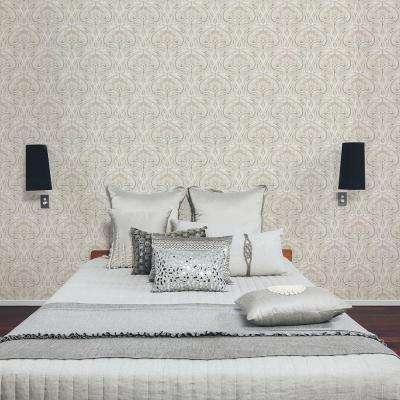 56.4 sq. ft. Donovan Cream Nouveau Floral Wallpaper