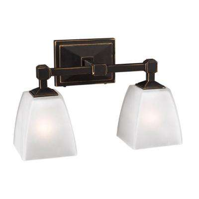 2-Light Bath Vanity Oil Rubbed Bronze Finish Frost Glass