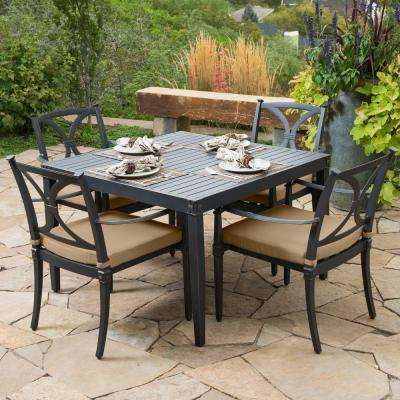 Astoria 5-Piece Patio Cafe Dining Set with Delano Beige Cushions
