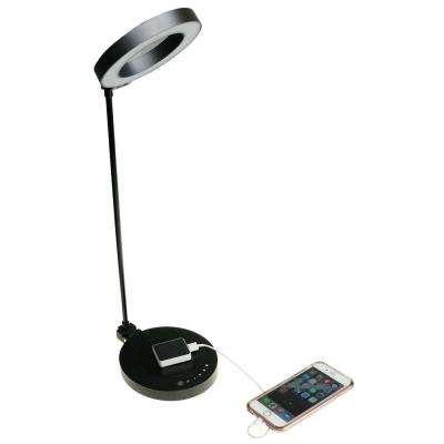 "NTW AirEnergy 20 in. LED Touch Dimmer Black Desk Lamp with Qi Certified Wireless Charging Base & ""SmartCube"" Qi Adapter"