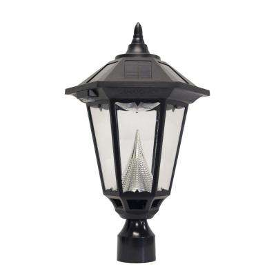 Windsor Solar Black Outdoor Post Light with 3 in. Fitter Mount