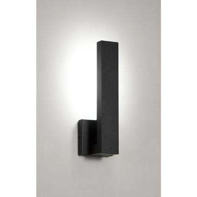 Vanderhoven 1-Light Sand Black Outdoor Integrated LED Wall Lantern Sconce with Etched Glass