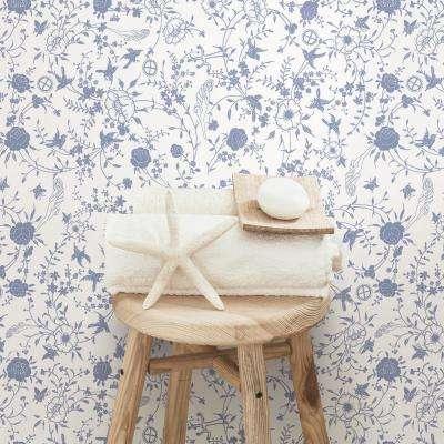Gulia Blue Botanical Wallpaper Sample