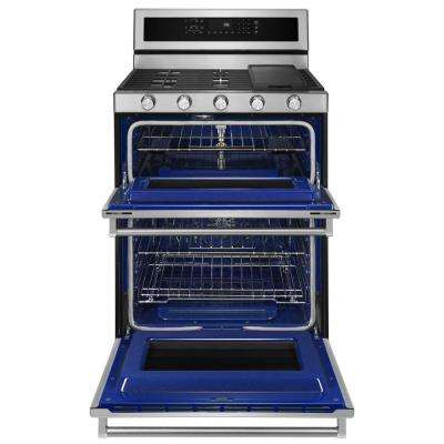30 in. 6.0 cu. ft. Double Oven Gas Range with Self-Cleaning Convection Oven in Stainless Steel