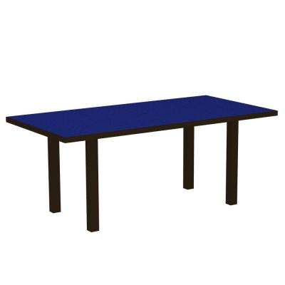 Euro Textured Bronze 36 in. x 72 in. Patio Dining Table with Pacific Blue Top