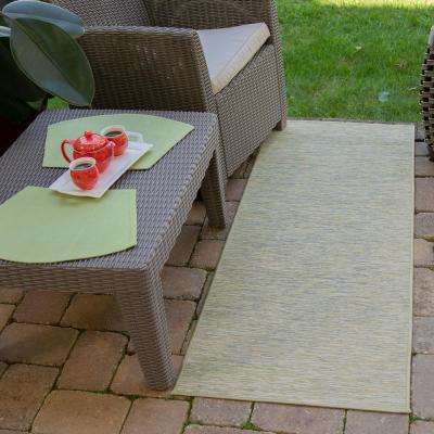 Sundance Collection Solid Green 2 ft. 7 in. x 5 ft. Indoor/Outdoor Reversible Runner Rug
