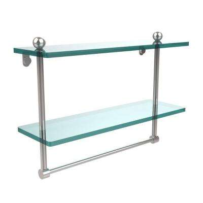 16 in. W x 16 in. L 2-Tiered Glass Shelf with Integrated Towel Bar in Polished Chrome