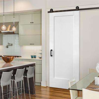 36 in. x 84 in. Lincoln Park Primed Interior Sliding Barn Door Slab with Hardware Kit