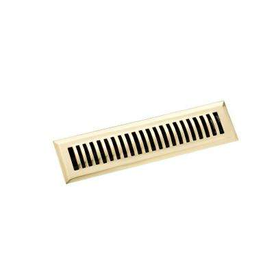 2.25 in. x 12 in. Classic Floor Register, Polished Brass