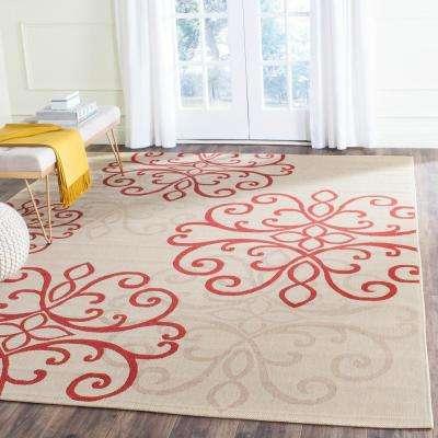 Courtyard Cream/Red 7 ft. x 10 ft. Indoor/Outdoor Area Rug