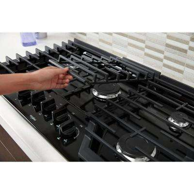 36 in. Gas Cooktop in Black with 5 Burners and EZ-2-LIFT Hinged Cast-Iron Grates