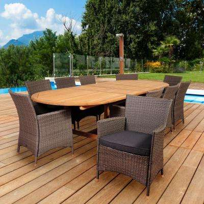 Macbeth 10-Piece Teak/Wicker Double Extendable Oval Patio Dining Set with Grey Cushions