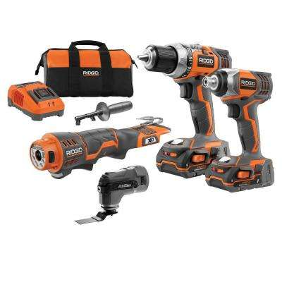 18-Volt Lithium-Ion Cordless Drill/Impact/JobMax Combo Kit (3-Tool)