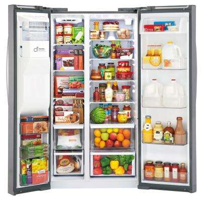 21.9 cu. ft. Side by Side Smart Refrigerator with WiFi Enabled in Stainless Steel, Counter Depth