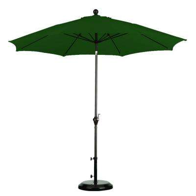 9 ft. Fiberglass Push Tilt Patio Umbrella in Hunter Green Polyester