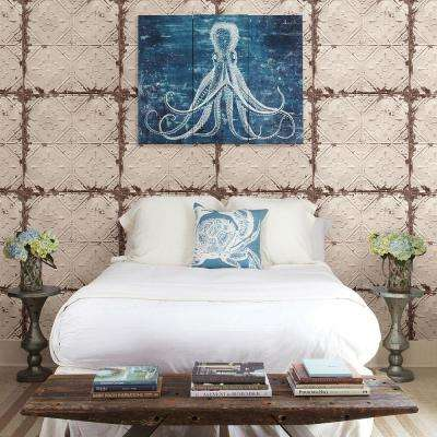 Beige Tin Ceiling Distressed Tiles Wallpaper Sample