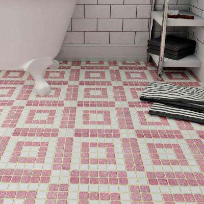 Crystalline Market Square Flamingo 11-3/4 in. x 11-3/4 in. x 5 mm Porcelain Mosaic Tile