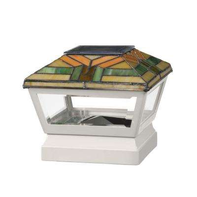 5 in. x 5 in. Vinyl Solar Light Harvest Top Pyramid Post Cap with White Base