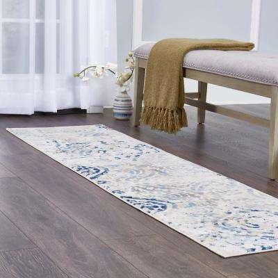Melrose Audrey ivory/Blue 1 ft. 8 in. x 7 ft. 2 in. Indoor Runner Rug