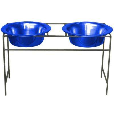 Platinum Pets 4 Cup Wrought Iron Modern Diner Dog Stand with Extra Wide Rimmed Bowls in Blue