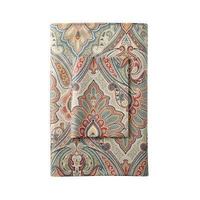 Aberdeen Paisley 300-Thread Count Wrinkle-Free Sateen Flat Sheet