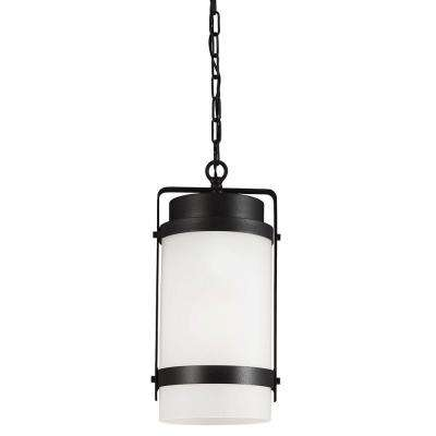 Bucktown 1-Light Outdoor Black Hanging Pendant with Satin Etched Glass