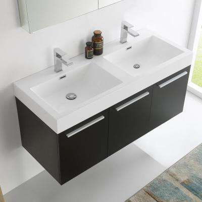 Vista 48 in. Vanity in Black with Acrylic Vanity Top in White with White Basins and Mirrored Medicine Cabinet