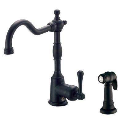 Opulence Single-Handle Standard Kitchen Faucet with Side Spray in Satin Black