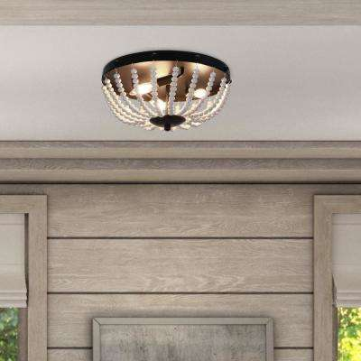 Avery Beaded 3-Light Black Flush Mount Light