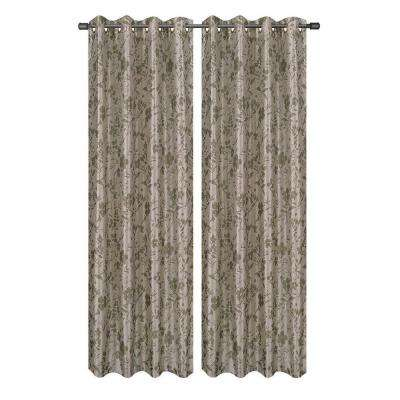 Florabotanica Printed Faux Silk Grommet Extra Wide Curtain Panel, 54 in. W