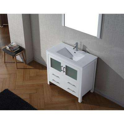 Dior 36 in. W Bath Vanity in White with Ceramic Vanity Top in Slim White Ceramic with Square Basin and Mirror and Faucet