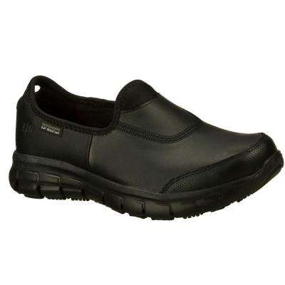 Sure Track Women Black Leather Work Shoe