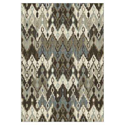 Chevron Stitch Silver/Black 3 ft. 3 in. x 4 ft. 7 in. Area Rug