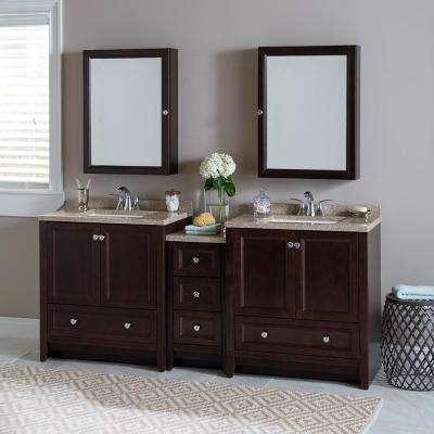 Delridge Bath Suite with 2 - 30 in. W Bath Vanities with Vanity tops and Linen Tower in Chocolate