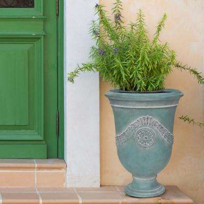 26.5 in. H. Cast Stone Anduze Urn Planter in A White Washed French Blue