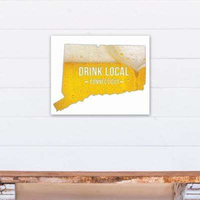"20 in. x 16 in. ""Connecticut Drink Local Beer Printed Canvas Wall Art"