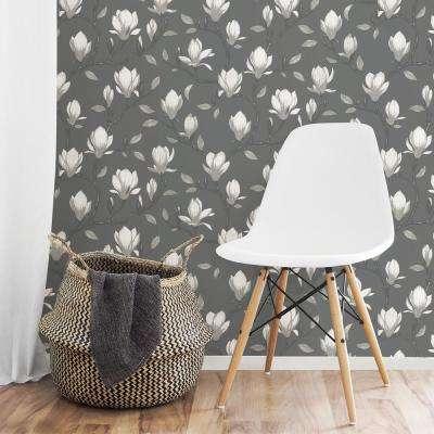 Grandiflora Charcoal Magnolia Wallpaper Sample