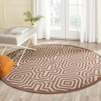 Courtyard Chocolate/Natural 7 ft. x 7 ft. Indoor/Outdoor Round Area Rug