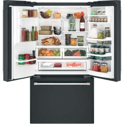 22.2 cu. ft. French Door Refrigerator with Hot Water Dispenser in Matte Black, Counter Depth and Fingerprint Resistant