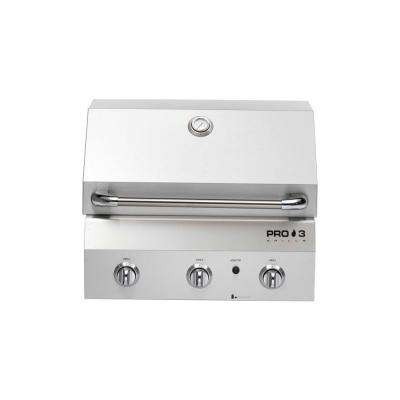 26 in. 3-Burner Built-In Natural Gas Grill in Stainless Steel with Warming Rack