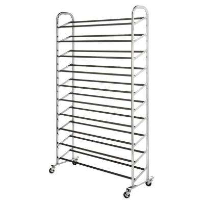Deluxe Rack Collection 36.50 in. x 59.5 in. 50-Pair Chrome Shoe Tower