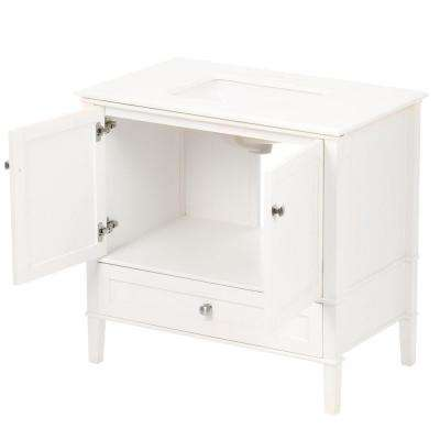 Chelsea 36 in. Bath Vanity in Soft White with Engineered Quartz Marble Vanity Top in White with White Basin