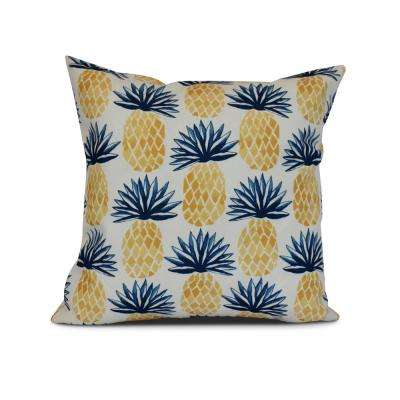 16 in. Blue Pineapple Stripes Geometric Print Pillow