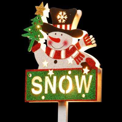Pre-Lit 35 in. Snowman with SNOW Sign