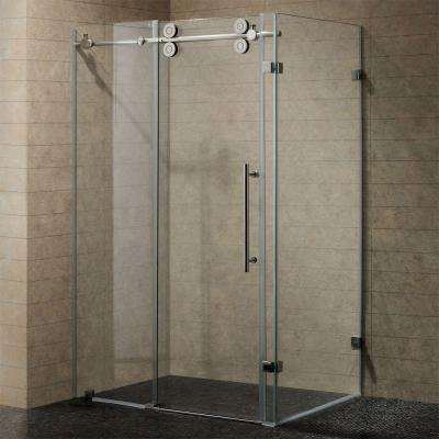 Winslow 57.75 in. x 74 in. Frameless Bypass Shower Enclosure in Chrome with Clear Glass