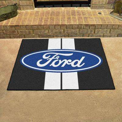 Ford - Oval with Stripes Black 3 ft. x 4 ft. Indoor Rectangle Area Rug